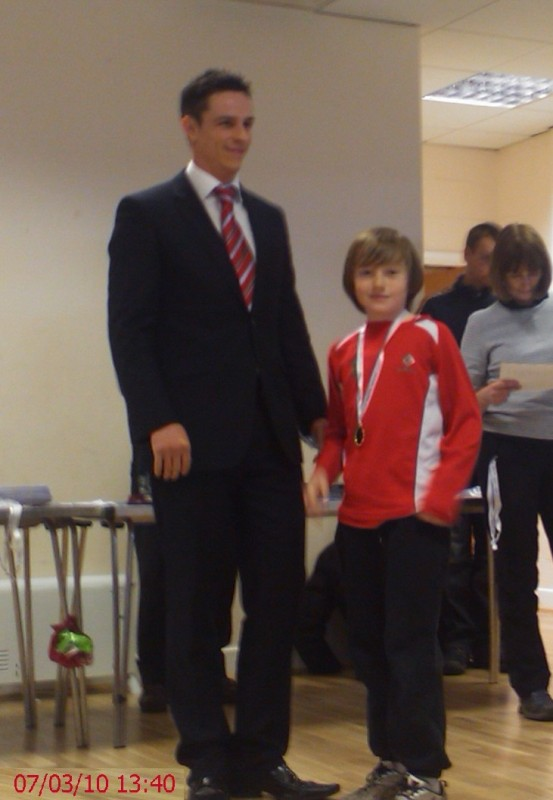 Robbie Collecting his Individual Winners Medal for Border League 2009/10